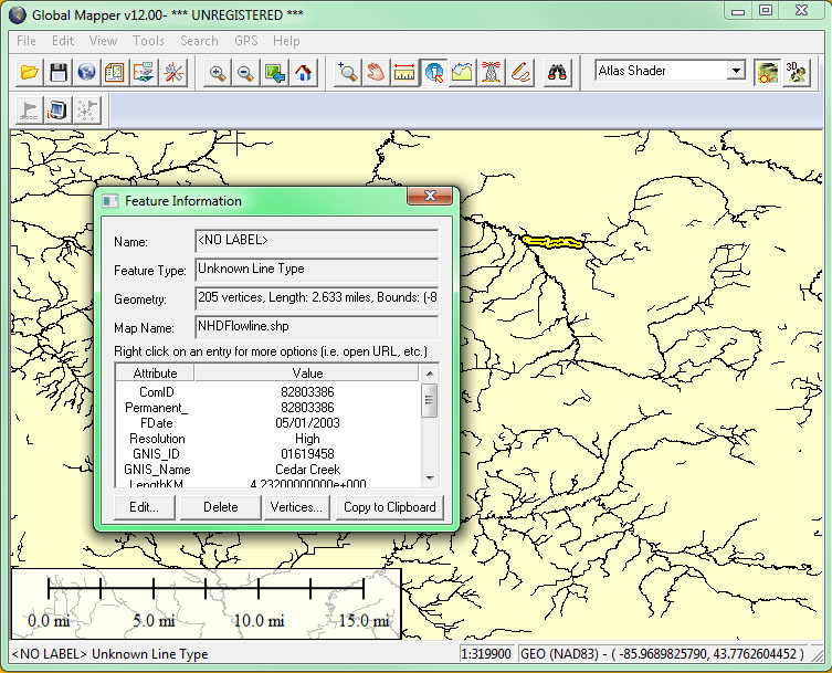 Screenshot of the feature information window in Global Mapper