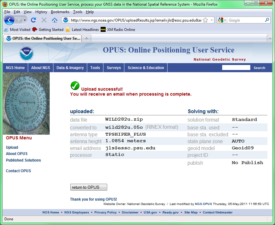 Screenshot of OPUS website