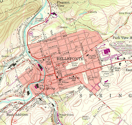 Portion of USGS 7.5-minute topographic map for Bellefonte PA