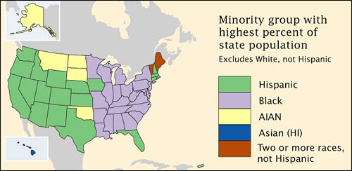 us map showing minority groups with higest percent population for each state