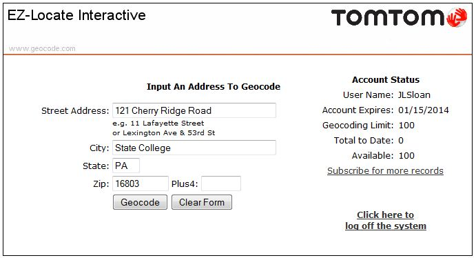 Screenshot of the Tele Atlas Geocode.com adress submission window