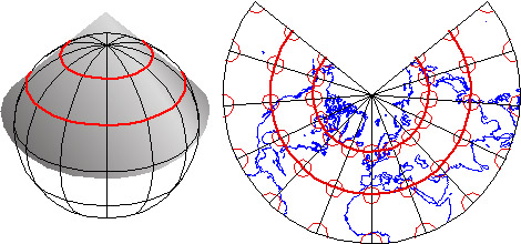 Conceptual model of a Lambert Conformal Conic map projection (left) and the resulting map (right)