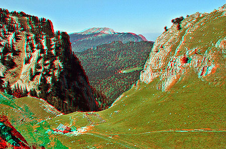 Anaglyph stereo image of French Alps