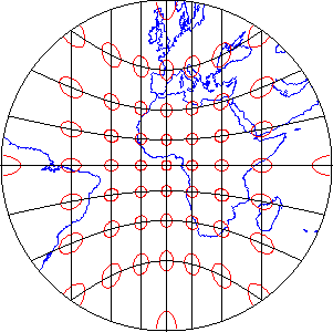 World map projection showing distortion ellipses that illustrate distortion pattern characteristic of an azimuthal projection