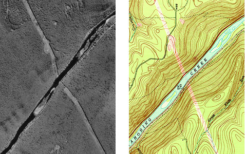 Comparison of topographic map and unrectified aerial image