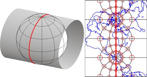 a Transverse Mercator projection of the world with a standard meridian at 0° longitude
