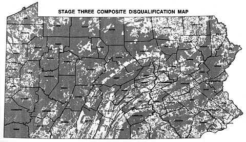 Stage three composite disqualification map of Pennsylvania