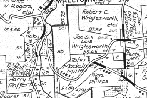 Portion of a plat map showing property boundaries