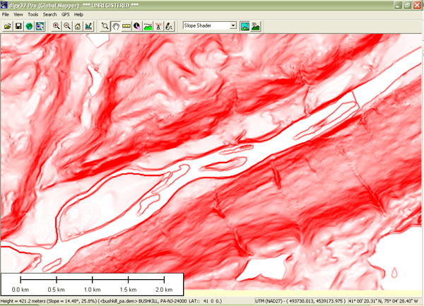 Slope map of Bushkill PA quadrangle produced with Global Mapper software