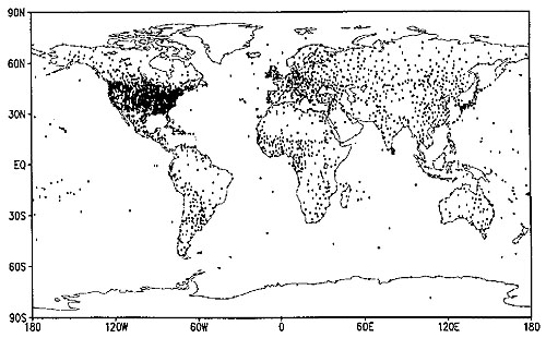 Locations of temperature climate records used to create a gridded temperature map