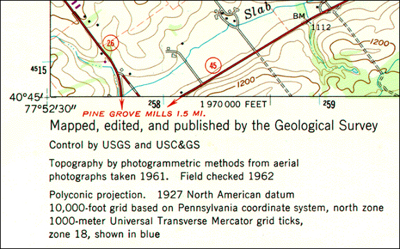 Southwest corner of a USGS topographic map of Pine Grove Mills