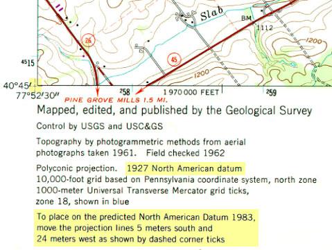 Bottom left corner of a topographic quadrangle map of State College