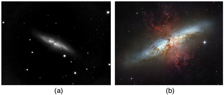 Two pictures of the same galaxy taken by different telescopes are shown side by side. Photo a was taken with a ground-based telescope. It is quite blurry and black and white. Photo b was taken with the Hubble Space Telescope. It shows much more detail, including what looks like a gas cloud in front of the galaxy, and is in color.