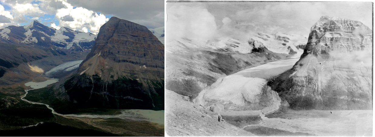 Two photos of a glacier. One taken in 1908 and the other in 2012. In that time, the glacier has melted substantially