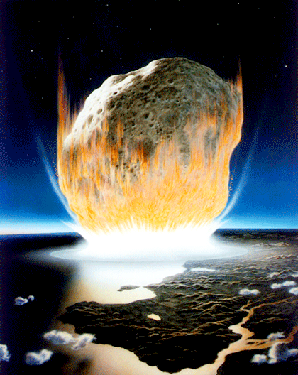 A drawing of an asteroid crashing into Earth's surface.