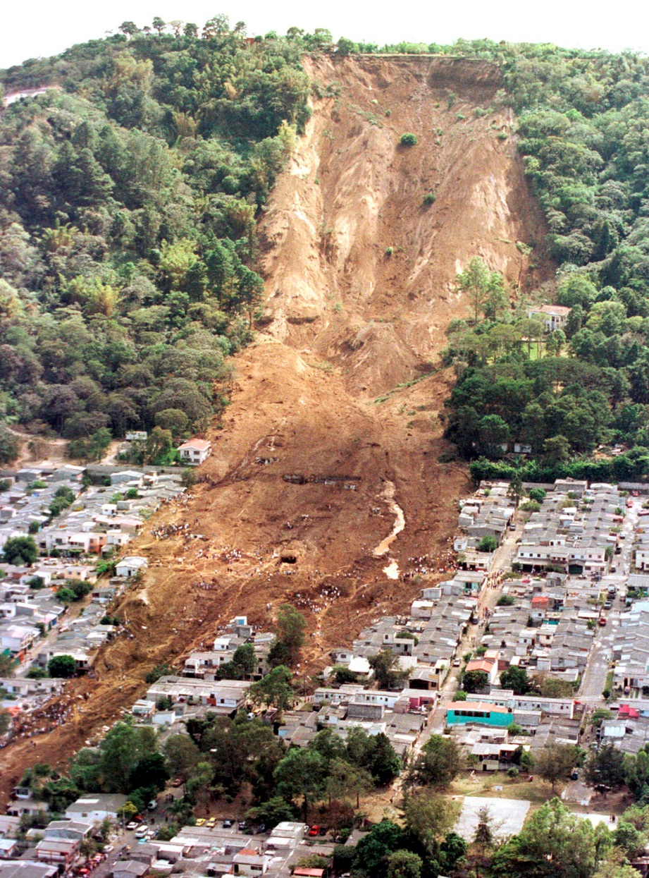 A debris slide that wiped out a large section of a residential area.