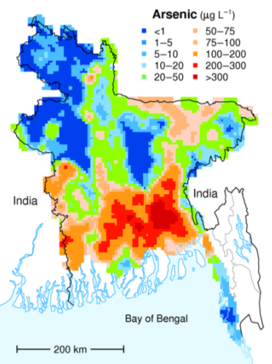 In Bangladesh, around three quarters of the groundwater contains unsafe levels of arsenic