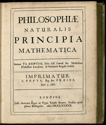 Cover page of the first edition of a book, Philosophiae Naturalis Principia Mathematica, written by Isaac Newton.