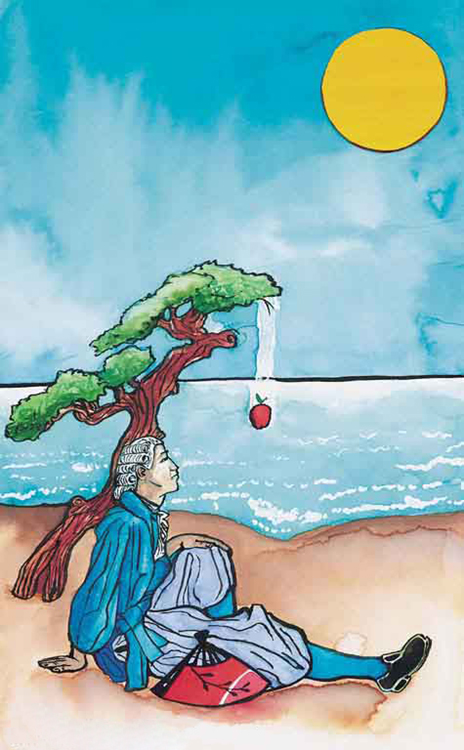 The figure shows a graphic image of a person sitting under a tree carefully looking toward an apple falling from the tree above him. There is a view of a river behind him and an image of the Sun in the sky.