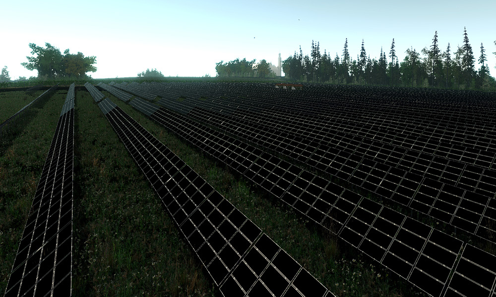 Solar cell arrays lined up in a field.
