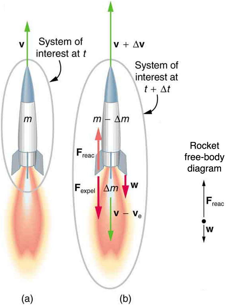 Picture a shows a rocket launched into space. It moves upward with velocity v in time t and the burning of fuel is also shown. After time t plus delta t the mass of fuel decreases by delta m and hence the velocity of the rocket increases to v plus delta v. The free body diagram shows the weight W of the rocket downward, reaction force upward and the resultant velocity upward too.