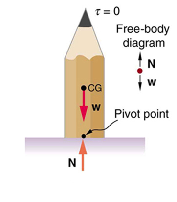 A pencil is balanced vertically on its flat end. The weight W of the pencil is acting at its center of gravity downward. The normal reaction N of the surface is shown as an arrow upward. A free body diagram is shown at right of the pencil. The midpoint of the flat base of the pencil is marked as pivot point.