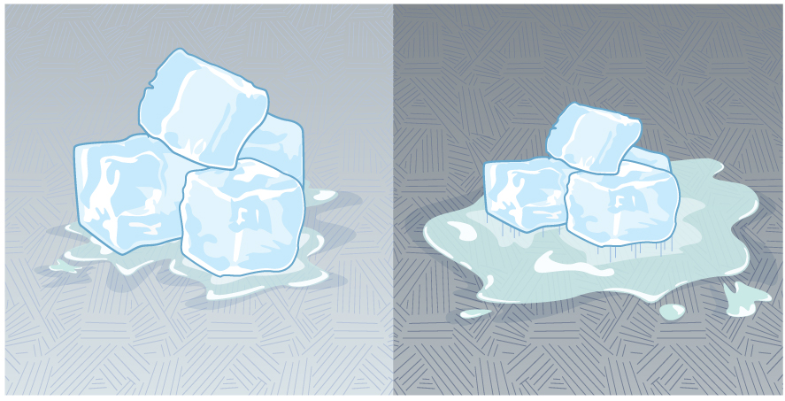 The figure shows a close up of two sets of ice cubes. The ice on the left is on a light-colored pavement and is relatively unmelted. The ice on the right is on a darker pavement and is noticeably more melted.