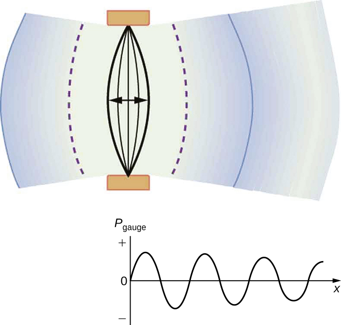 Part a of the diagram shows a vibrating string held fixed at both the ends. The string is shown to vibrate to and fro toward left and right. The compression and rarefaction of air is shown as bold and dotted arcs around the string. Part b shows a graph of pressure versus distance from the source. The pressure is along the y axis and the distance is along the x axis. The graph is a sine wave along the x axis.