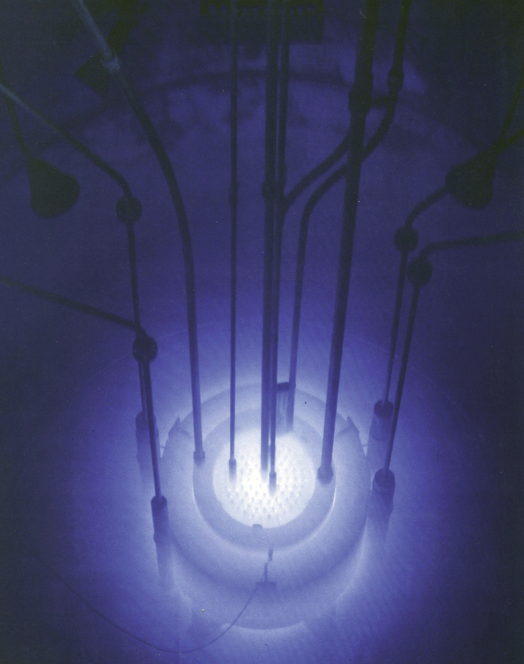 Photograph of the blue glow, in a research reactor pool.