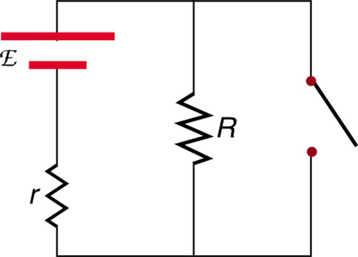 this diagram shows a circuit with a voltage source and internal resistance  small r  a