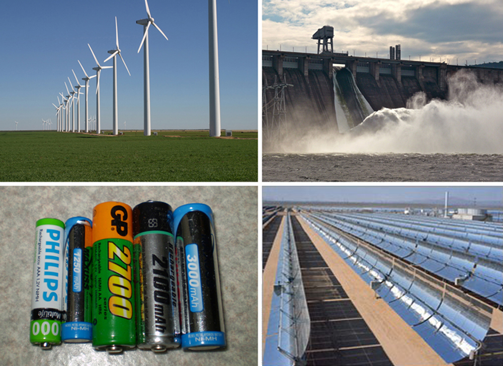 A set of four photographs. The first one shows a row of tall windmills. The second shows water gushing out of the open shutters of a hydroelectric dam. The third shows a set of five batteries of different sizes that can supply voltage to electric circuits. The fourth photograph shows a solar farm.
