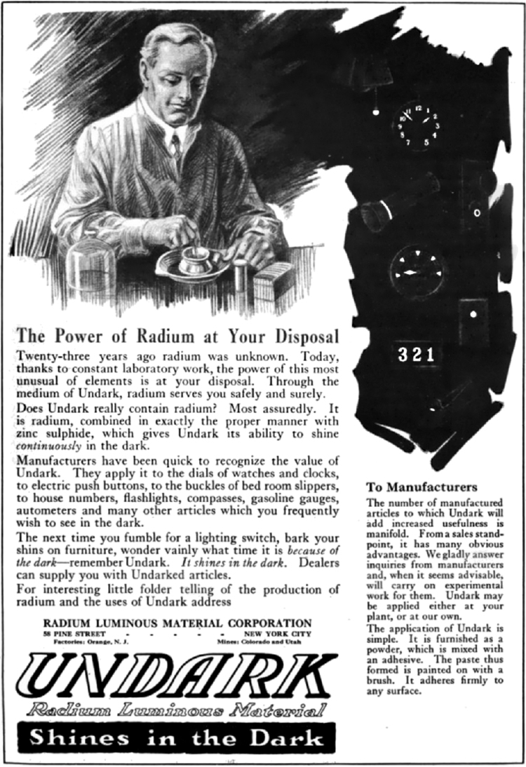 "The image shows an old advertisement of radium material branded as UNDARK with the tagline ""Shines in the Dark."""