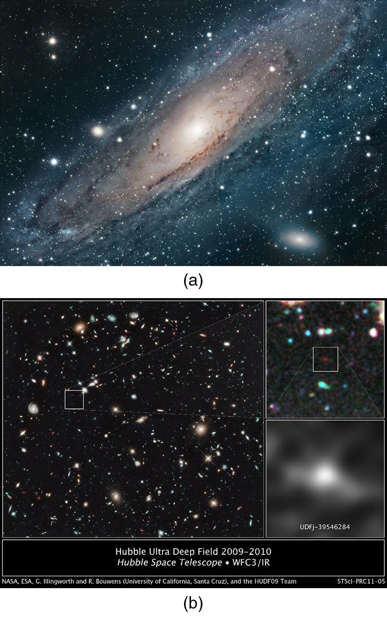 The first image shows a shining spiral cloud of light and dust. The second image contains three sub images. The first is a large scale view of numerous points of lights and light clouds against a black background. A small square appears in the upper left of the image, and the second image is the zoom-in of this square. In the center of this second image appears a small red dot, which is again boxed in by a square. The third image shows a zoomed-in view of the square from the second image and shows a hazy picture of a circular bright spot surrounded by darker regions.