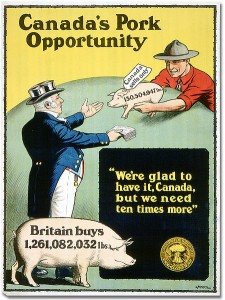 Johnny (or Jack) Canuck appears more as an 'everyman' character, often scowling at Uncle Sam's antics and invariably helping out Britain. https://commons.wikimedia.org/wiki/File:Canada's_Pork_Opportunity.jpg