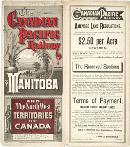 As a land vendor, the CPR needed buyers and it looked overseas to find them. Notice how the branding developed by the CPR reduces 'Canada' to something inconsequential: the Railway and Manitoba are the message.