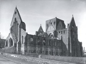 The shell of St. John's Anglican Cathedral after the 1892 fire.