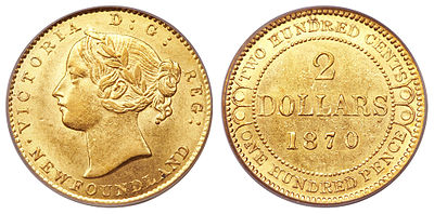 2-dollar gold coin from 1870 with Queen Victoria on the obverse.