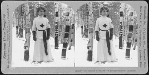 Inventing images that evoke a Canadian tradition separate from that of Britain or the USA has been a minor industry in Canada. Here, Catholic traditions meet Québec folkways in Our Lady of the Snows, 1909. https://commons.wikimedia.org/wiki/File:Our_Lady_of_the_Snows_-_A_Strictly_Canadian_Character.jpg