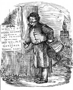 "The Science of Cheek; or, Riel's Next Move. Riel (loq.) – ""Five Toussand Dollares! By gar, I shall arrest ze scoundrel myself!"" J.W. Bengough is widely regarded as the pioneer of political cartooning in Canada. This one from April 1874 finds Riel in Ottawa, where it was alleged he stole into the Commons, signed the register, and snuck off again."