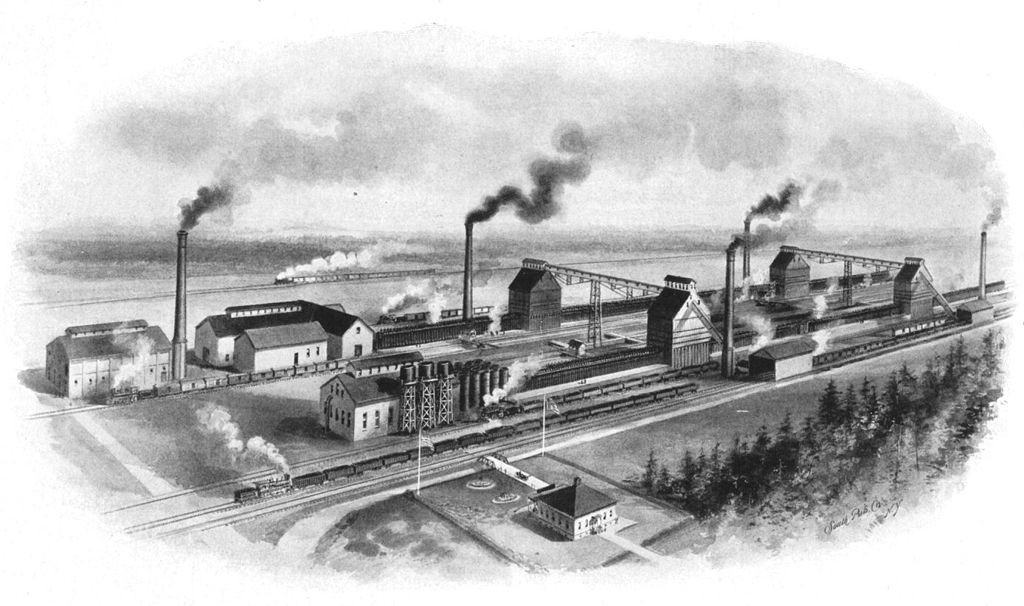 Sketch of industrial ovens and smokestacks by the water.