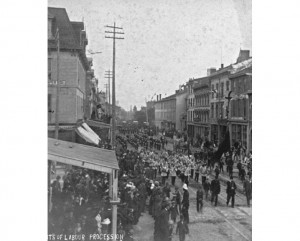 A Knights of Labor procession in Hamilton, ca.1885. (Photographer: W. Farmer. Source: Library and Archives of Canada) http://www.canadianheritage.org/reproductions/20462.htm