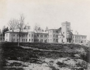 The Provincial Lunatic Asylum in New Westminster, shortly after it was opened in 1878. It would subsequently become known as the Provincial Hospital for the Insane and, from 1950, as Woodlands School. Photo by S.J. Thompson. (British Columbia Archives) https://commons.wikimedia.org/wiki/File:NewWestminsterAsylum1878.jpg