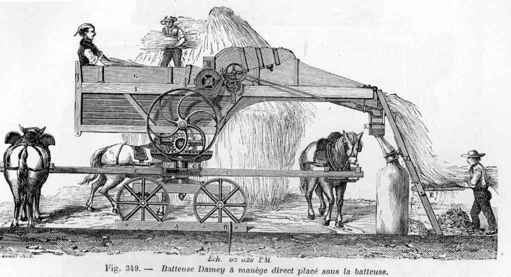 Sketch of three men using a horse-powered wheat thresher.
