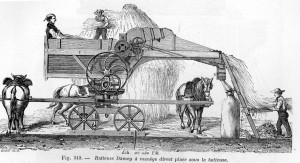 Before steam power augmented machines, horses were regularly employed. https://commons.wikimedia.org/wiki/File:Batteuse_1881.jpg