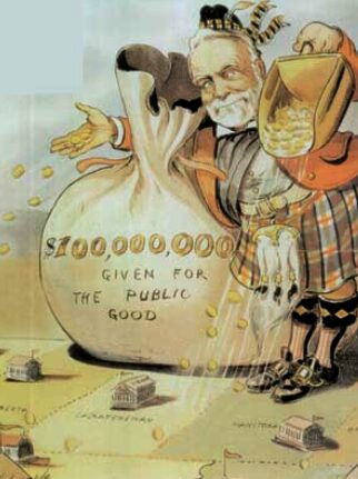 "A man showers gold on the land. His gold sack says ""$100,000,000 given for the public good."""