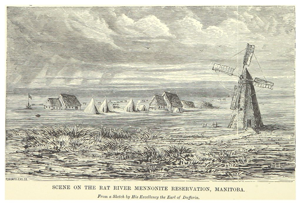 Sketch of a windmill near a prairie settlement.