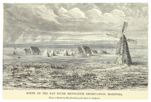 A Mennonite block settlement at Rat River, Manitoba, drawn by Lord Dufferin in 1881. https://commons.wikimedia.org/wiki/File:DENT(1881)_1.378_MANITOBA;_RAT_RIVER_MENNONITE_RESERVATION.jpg