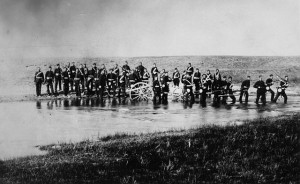 "The Halifax Provisional Battalion fords a stream near Swift Current, part of the ""Canadian"" expedition into the North West in 1885. (Library and Archives Canada) https://www.collectionscanada.gc.ca/trains/021006-150-e.php?uid=021006-c005826&uidc=recKey"