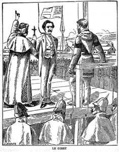 "Surrounded by what looks like a regiment of Prussian pikemen, Riel faces his end on the gallows (""le gibet""). (Source: Project Gutenberg) http://www.gutenberg.org/files/19604/19604-h/19604-h.htm"