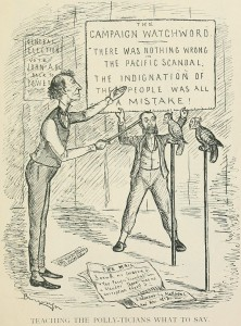 Toeing the party line, according to the Canadian political cartoonist John Wilson Bengough, was common practice under Macdonald. This cartoon appeared in Grip in 1877 and refers to damage-limitation efforts on the part of the Conservative Party as it prepared for an election.